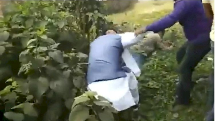 Trinamool Workers thrashed BJP Leader and thrown in ditch