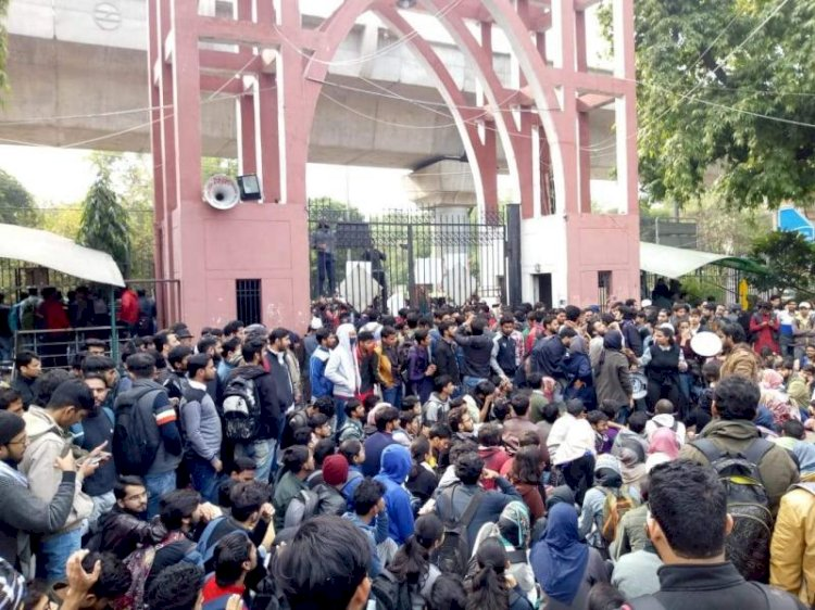 Jamia students protest outside varsity campus against CAA