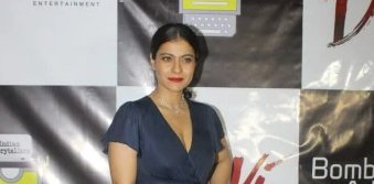 Kajol sizzles in blue dress and Red bold lipstick