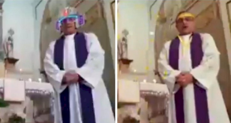 Priest tries to live-stream mass, turns on filters by mistake. Video goes viral
