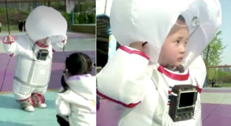 Father in China designs protective suit for son that makes him look like a space cadet