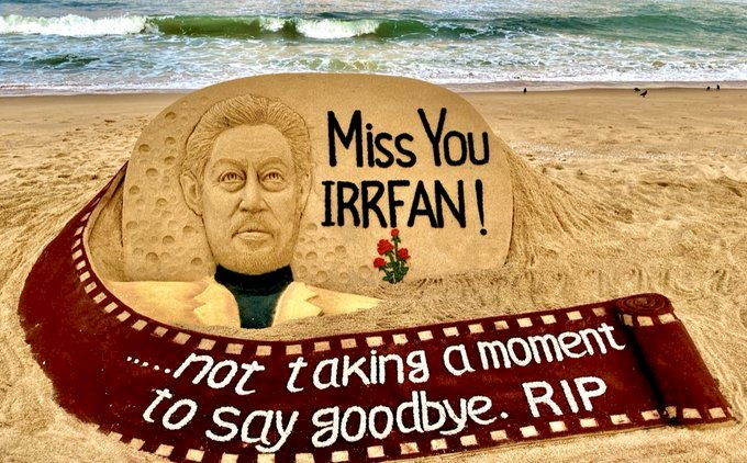 Sudarsan Pattnaik pays sand art tribute to Irrfan with words from Life Of Pi