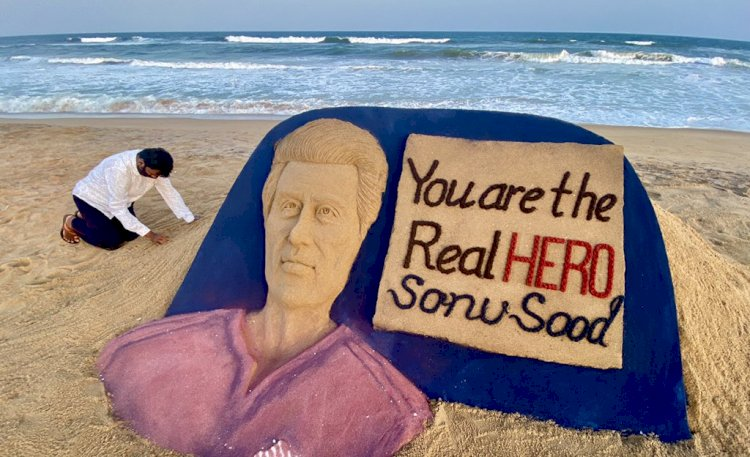 Sudarsan Pattnaik pays tribute to Sonu Sood with sand art on Puri Beach: You are the real hero