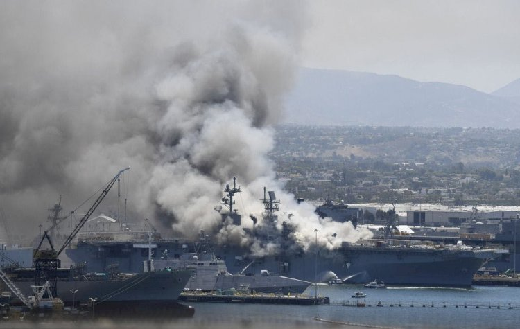 US: 21 injured in fire aboard ship at Naval Base San Diego