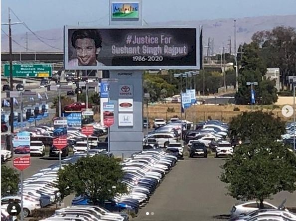 Sushant Singh Rajput's sister shares pics of California billboard calling for justice for late actor