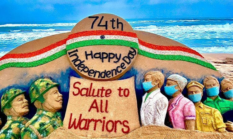 Independence Day 2020: Sudarsan Pattnaik pays tribute to corona warriors and soldiers with sand art