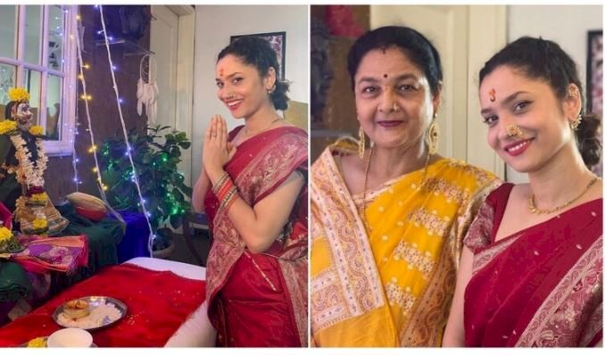 Ankita Lokhande performs Mahalakshmi pooja with mom at their home: God is with us