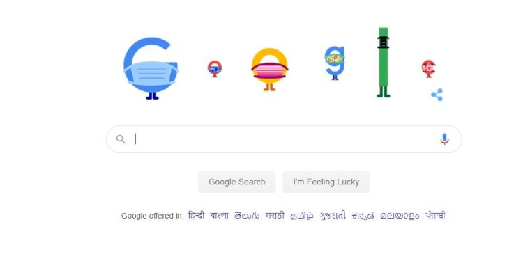 Google Doodle says help stop coronavirus: Wear a mask. Save lives. Wash your hands