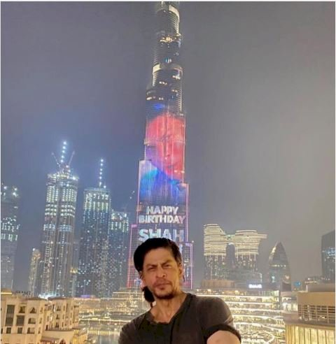 Shah Rukh Khan on the big screen of Burj Khalifa on his 55th Birthday